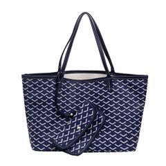 2019Fashion women's handbag lady Ystriped single shoulder bag PU bag high quality large capacity bag blue 46X16X25cm