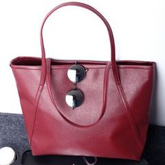 New European and American fashion, high-capacity single-shoulder bag handbag, high-quality PU bag red 34X11X35cm
