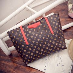New fashions luxury luxury print handlebar premium PU large capacity red 46X12X29cm