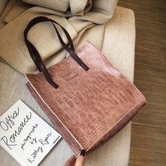 Fashion retro large capacity bucket shoulder bag trend handbag pink 29X10X32cm