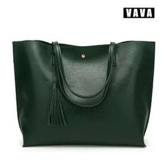 2019 female bag European and American fashion tassel shoulder bag handbag female large capacity green 36X11X30cm