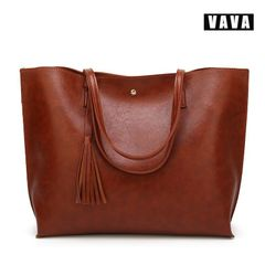 2019 female bag European and American fashion tassel shoulder bag handbag female large capacity brown 36X11X30cm