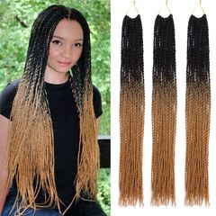 CFH Eroupean and American Synthetic gradient color fashion women's wigs with three braids black+brown 24inch