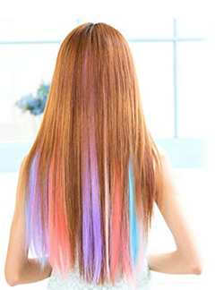CFH Colored Hair Extensions Multi-colors Party Highlights Clip in Synthetic Hair Extensions 10 Pcs purple 22inch/10pcs