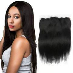 CFH 100% Human Hair 13*4 Lace Closure Brazilian Straight Hair With Baby Hair Natural Color natural black 12inch