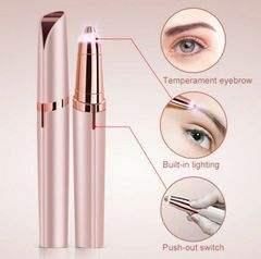 Battery Face Electric Eyebrow Remover Razor Trimmer Facial Hair Removal LED Light New Gold