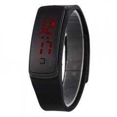 LED Digital Bracelet Watch Sport Silicone Strap Wristwatch for Men Women Black