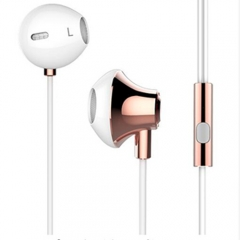 3.5mm Jack in ear stereo listener earphones for iphone and Android Infinix /Cubot rose gold