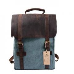 Backpack Retro Canvas Leather School Travel Backpack for Men's Bags Rucksack 15.6-inch Laptop Bag