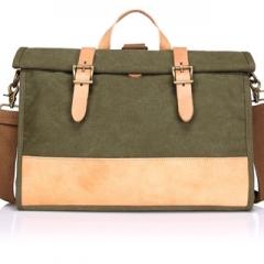 Canvas Multifunctional Messenger bag  leather belts patchwork multicolor shoulder bag casual