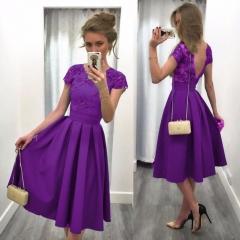 New elegance lace Hollow waist backless sexy dress