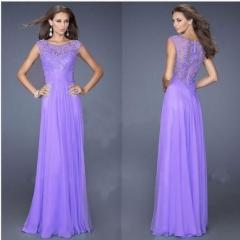 Fashion Casual Chiffon Short Sleeve Lace Back zipper Perspective sexy Maxi Dress