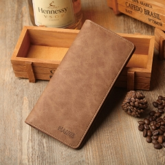 Vintage men long Purse Wallet cross section soft leather simple personality of students khaki one size