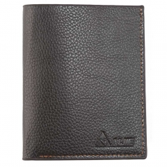 Man short vertical section head layer cowhide Genuine Leather Slim retro men's youth Wallet brown one size