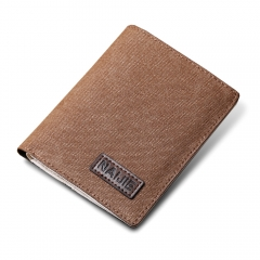 Men short wallet youth trend casual canvas Slim Wallet simple vertical holding money coffee one size