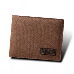 Men short wallet youth casual canvas money clip flow cross section thin simple Wallet coffee one size