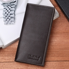 Men Long Wallet many Card Wallet genuine fashion business male Thin Wallet coffee one size