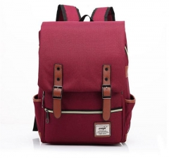 Fashion Men Daily Canvas Backpacks for Laptop Large Capacity Computer Bag Casual  School Bagpacks rose red one size