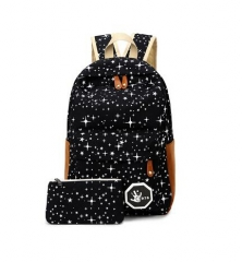 2017 Canvas Women backpack Big Capacity School Bags For Teenagers Printing Backpack For Girls black one size