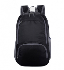 2017 Nylon Folding Backpack  Waterproof Rucksack Casual Travel Bag Student School bag Shoulder Bag black one size