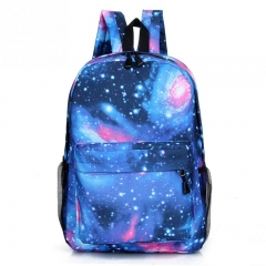 Fashion Design Men Women Stars Universe Space printing  School Book Backpacks Stars Pattern bag blue one size