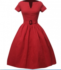 1950s Vintage Rockabilly Dress red m