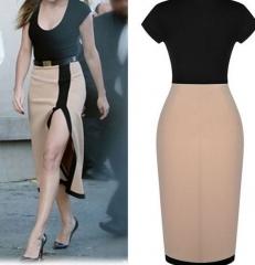 Elegant Women Sexy Split Side Bodycon Evening Dress Apricot 2xl