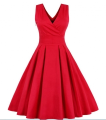 Vintage 1950's Sleeveless Sexy V-neck Party Cocktail Dress red s