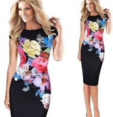 Floral Print Party Midi Pencil Dress black 2xl
