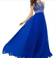 Womens Elegant Sleeveless Halter Evening Dress blue US12