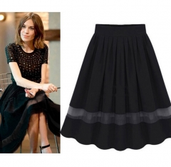 Casual Elastic Waist Pleated Chiffon Midi Skirt With Organza blue one size