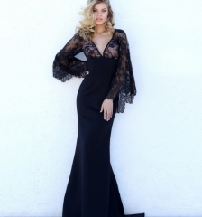 Women Long Prom Dress Black Lace Sexy Evening Party Dresses black s