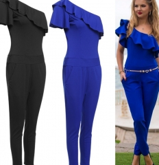 Women Slim Off-Shoulder Jumpsuit Ruffle Bodycon Rompers blue m