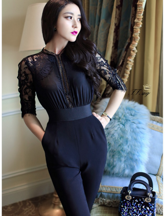 Lace Jumpsuit black one size