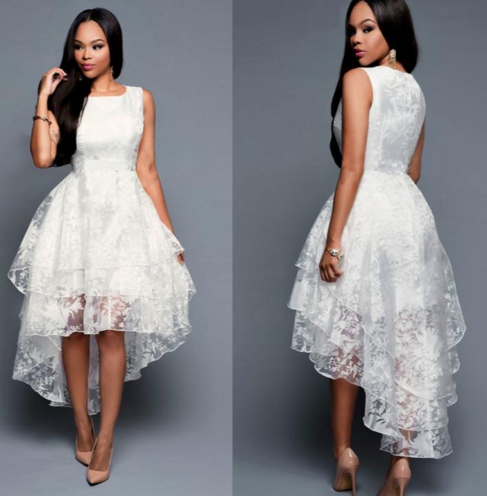 Elegant Women White Dress Sleeveless Long Dress white m