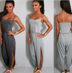 Fashion Women Jumpsuit Drawstring Waist Playsuit grey s