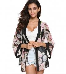 Romantic Floral Print Chiffon Sunblock Kimono Top Cardigan Flowers m