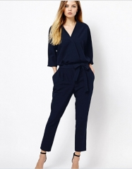 Women Jumpsuits Sexy V-neck Long Sleeve Jumpsuit Rompers blue s