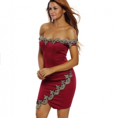 Women's Off Shoulder Bodycon Lace Trim Cocktail Club Party Dress red s