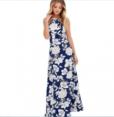 Printed Long Dresses Women Casual Party Floral Cocktail blue s