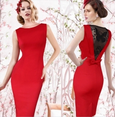 Women Sleeveless Floral Lace Bodycon Knee Length Party Dress red l