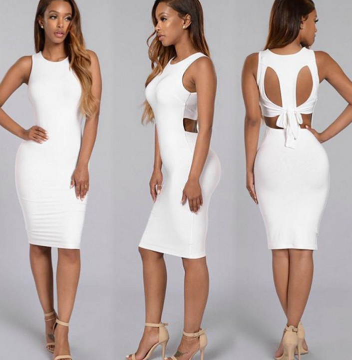Summer Women White Dress Sleeveless Bodycon dress white m
