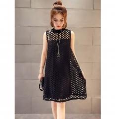 Women Midi Dress / Wide dress / A line dress black one size