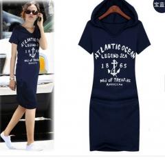 new female casual dress Siamese Health Hooded Dress blue xl