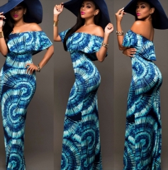 Vintage dress Casual Party Bodycon Pencil Maxi Dress blue m