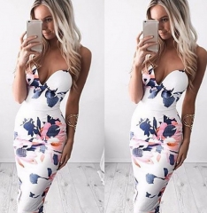 party dress Slim Sexy Flower Party Floral Dress Mini Summer white m