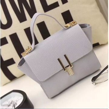 PU leather handbags women s vintage Shoulder bags Grey one size