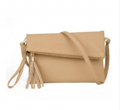 Women Leather Fashion Messenger Bag Tassel Fold Cover Sling Girl Shoulder Crossbody Bag khaki one size