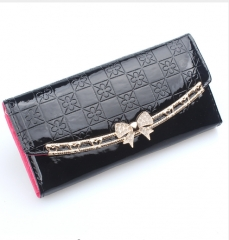 Korean Style Women Walltes Pu Leather Embossed Wallet Female Clutch Long Card Holder Purse rose one size