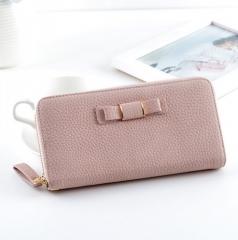 Women PU Leather Long Wallet Card Holder Bow Zip Coin Purse Clutch Handbag Long wallt brown one size